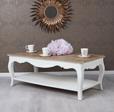 Table Basse Shabby de Salon D'Appoint Blanc en Bois Style Ancien