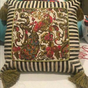 MacKenzie-Childs Highbanks Peacock Large Tassel Courtly  Pillow Neiman Marcus
