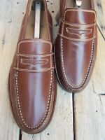 COLE HAAN Mens Dress Shoes Soft Light Brown Leather Slip On Penny Loafer Size 8M