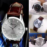 Montre-bracelet de quartz occasionnel en cuir d'acier inoxydable de luxe d'homme