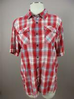 The North Face Size M Red Mens Cotton Plaid Short Sleeve Button-Down Shirt 547