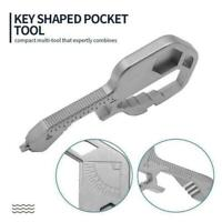 Stainless Steel Multifunction Key Shaped Pocket Tool Keychain Opener J9E1