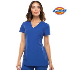 85956 Scrub Top Womens - DICKIES Mock Wrap Style, Stretch Fabric Nurse Medical