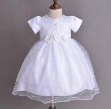 New Girls White Christening Party Flower Girls Dress 0-3 Months