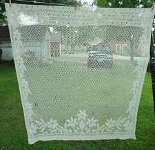 """Antique Curtain Open Lace Flowers Leaves 1 Panel 60"""" x 76"""""""