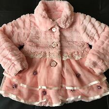 Girls Kids Size 5 Boutique Faux Fur Jacket Dress Coat EUC Light Pink Gorgeous!!