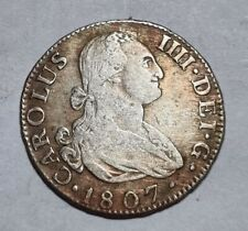 MADRID 1807 2 REALES SILVER COIN SPANISH COLONIAL DOLLAR 5.95g NICE PATINA RARE