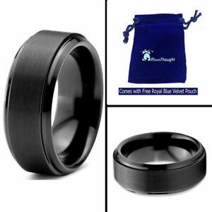 Free Engraving - Tungsten Carbide Black Brushed Step Center Wedding Band Ring