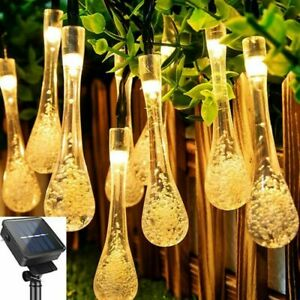 Solar Powered String Fairy Lights Raindrop Outdoor Garden Christmas Tree Decor