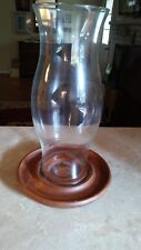 "Vintage 15"" Tall Rustic Wood Pillar Candle Holder Hurricane Glass 9"" Wide"