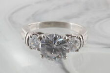 STERLING SILVER CLEAR CRYSTAL RING 825 SIGNED 5144