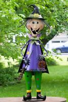 5ft Tall Metal Witch with Broom Stick Halloween Figurine Decoration