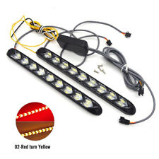 2x Flowing 12 LED Light Strip Arrow Flasher DRL Red/Amber Turn Signal Lamp