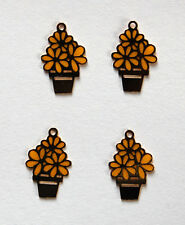 VINTAGE 4 TINY CUTE GOLD METAL FLOWER POT FLORAL PENDANT BEADS FLOWER YELLOW