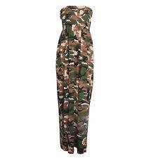Ladies Womens Camouflage Army Shirring Bandeau Maxi Dress Plus Normal Sizes 8-22 XXXL
