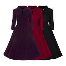 Ladies 40s 50's Vintage Retro Velvet Crop Sleeve Swing Party Tea Dress New 8-18