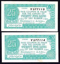 Malaya JOHORE State 1941 Penang Coupon 25 Katis X 2    aUNC