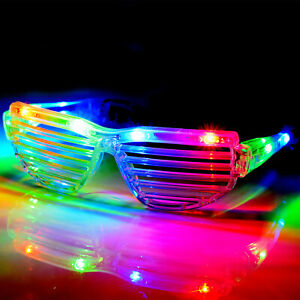 LED Shutter Shades Flashing Glasses Rave Club Party Fancy Dress Light Up