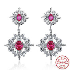 Ruby & White Topaz 100% S925 Sterling Silver Drop Dangle Chandelier Earrings