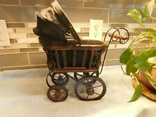 Vintage Baby Doll Carriage - Wicker & Wood with Canopy
