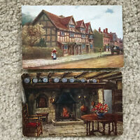 Pair of Vtg Quatremain Water Colour Postcards Shakespeare Birth Hathaway Cottage