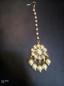 Traditional Kundan Pearl Gold Tone Partywear Wedding Fashion Jewelry Tikka Set