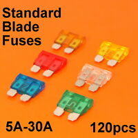 Quality 120pc Standard Blade Fuses For Car Van Bike Fuse 5A 10A 15A 20A 25A 30A