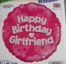 "18""  FOIL BALLOON  HAPPY BIRTHDAY GIRL FRIEND  PINK HOLOGRAPHIC"