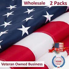 2x3 Ft USA American Flag 2 Packs Embroidered Stars Sewn Stripes Grommets Nylon