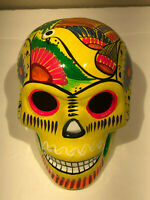Talavera Sugar Skull Yellow Glazed - Mexican Pottery -Green Birds Hand Painted