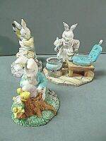 Easter 147 Rabbit Bunny Crafters 3 Pcs. Resin Hand Painted Midwest Vintage