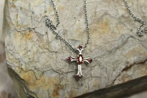 """Cross Pendant Sunset Red Sapphire, Ruby Plat/SS Stainless Steel 20"""" chain NWT"""