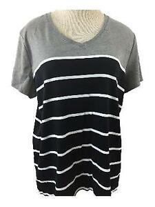 Croft & Barrow classic tee T top Size XXL black white stripe gray short sleeve