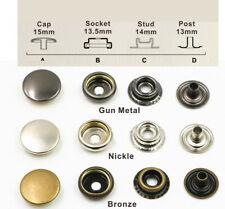 Fermoir bouton attache en fer 15 mm 10 sets métal gun metal boutons pression new