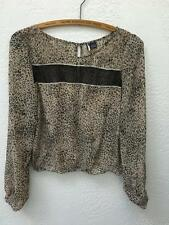 Urban Outfitters Sparkle and Fade Leopard Print Open Back Sheer Top sz S