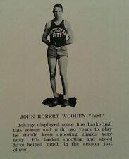 John Wooden 10th Grade High School Yearbook 1926  UCLA Bruins  NCAA Basketball