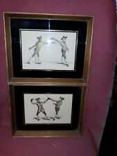 Pair Antique Fencing Sporting Prints
