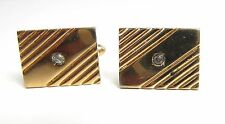 Vintage Men's Cufflinks Signed SWANK Gold Tone Paste Rhinestone Cuff Links