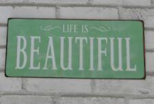 Blechschild mit Spruch Life is beautiful Retro Deko Schild  Nostalgie Wandschild