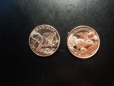 Pteranodon And Giganotosaurus Copper .999 Fine Round Tokens! Ww795Dxx