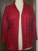 Travelers Collection by Chico's Blouse Sz 1 Open Style Red Long Sleeve Crinkle