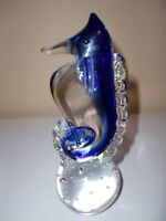 VINTAGE~SEAHORSE~NAUTICAL ART GLASS VASELINE BOTTOM HAND BLOWN PAPERWEIGHT-6.5""
