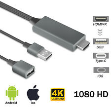 HDMI Mirroring Cable Phone to TV USB Adapter For iPhone/iPad/Samsung/Android/Tab