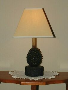 Rustic Pine Cone Small Table Lamp On Wood Log With Tan Shade
