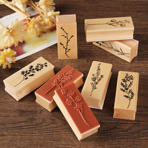 Vintage Plant Stamp Wooden Rubber Stamps Scrapbooking stationery DIY Cr_cd