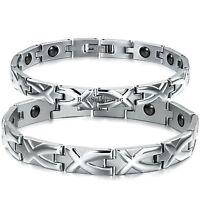 Silver Stainless Steel Men's Women's Magnetic Energy Link Bracelet w Magnets