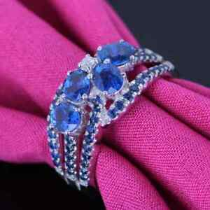 Silver Real Diamonds Oval 5x3mm Sapphires Engagement Ring Gemstone Fine Jewelry