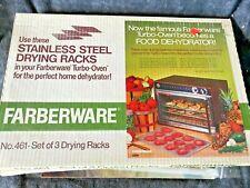 FARBERWARE 3 New Stainless Steel Drying Racks Turbo Oven Dehydrator #461 NIB