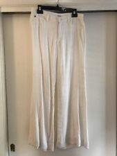 NWT Hudson Midrise Gwen Wide Leg Trousers Pants White Linen Size 27