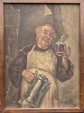 Unknown Genre Painter Cheerful Monk With Beer Mug Oil On Fabric Signed Dowe